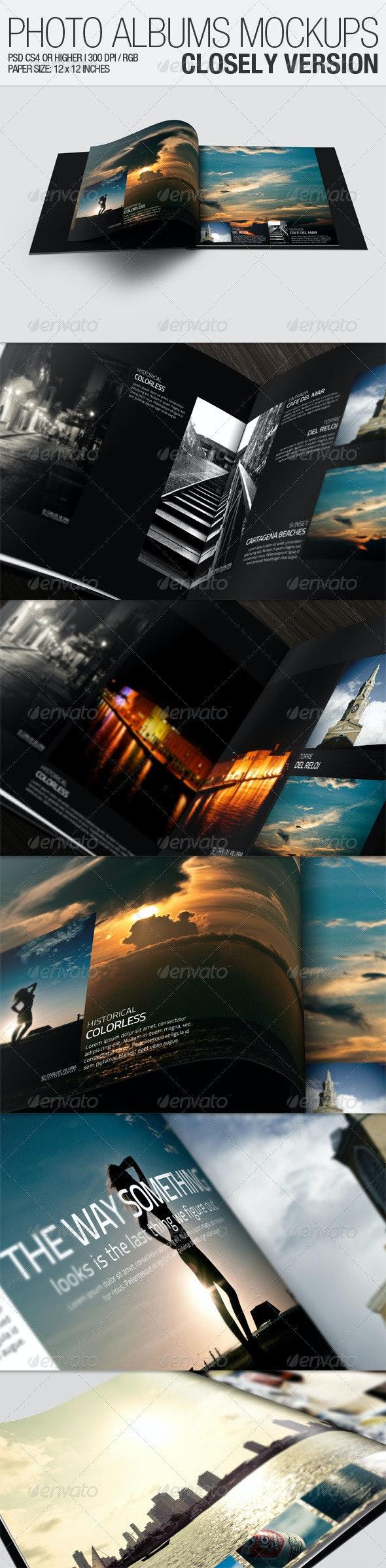 Photo Albums Mockups - Closely Version - Brochures Print