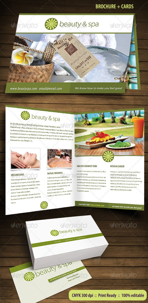 Beauty Spa Brochure and Business Cards - Stationery Print Templates