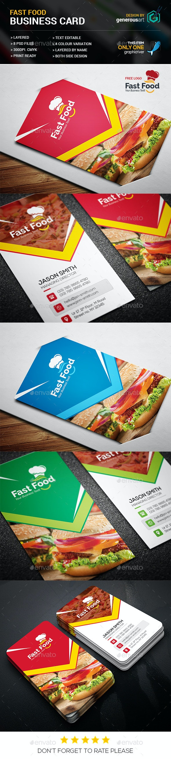 Fast Food Business Card - Business Cards Print Templates