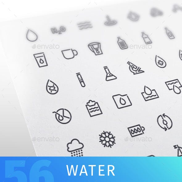 Water Line Icons Set