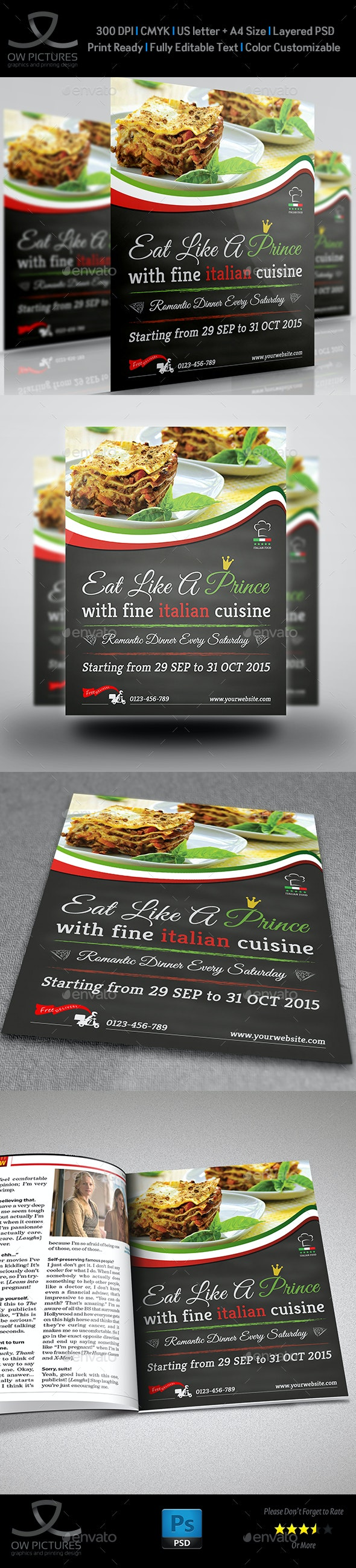 Italian Food Restaurant Flyer Vol.2 - Restaurant Flyers