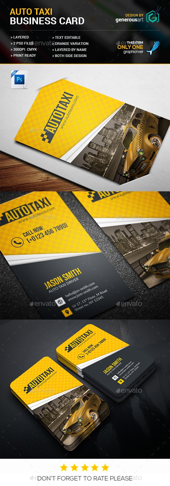 Auto Taxi Business Card - Business Cards Print Templates