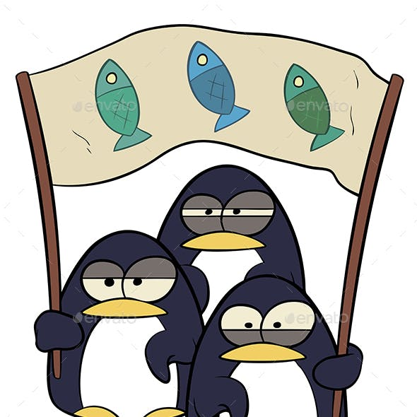 Cartoon Penguins with Banner