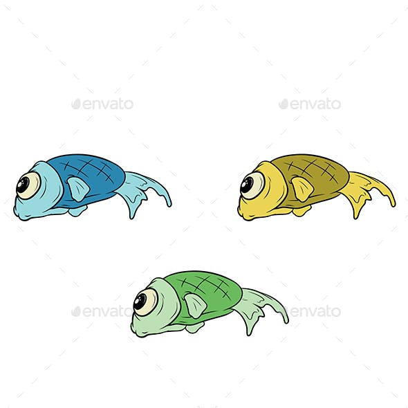 Cartoon Set of Different Fish