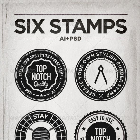 Set of Six Rubber Stamps