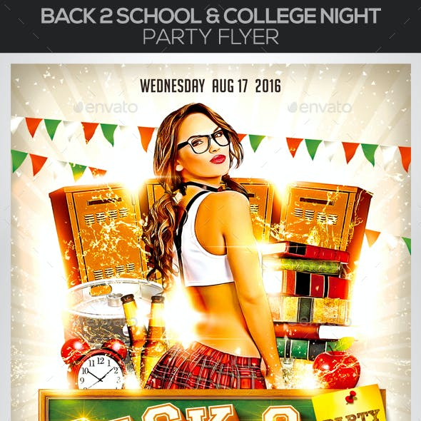 Back 2 School & College Night Party Flyer