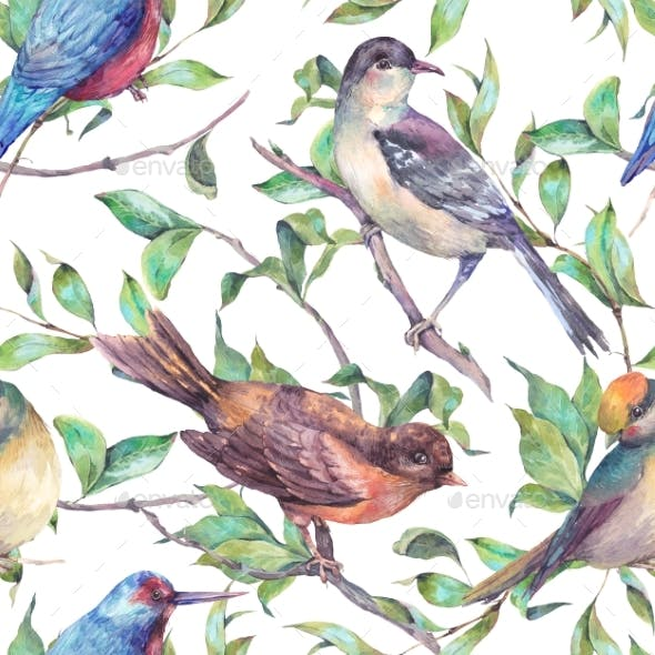 Watercolor Seamless Pattern, Birds On a Branch