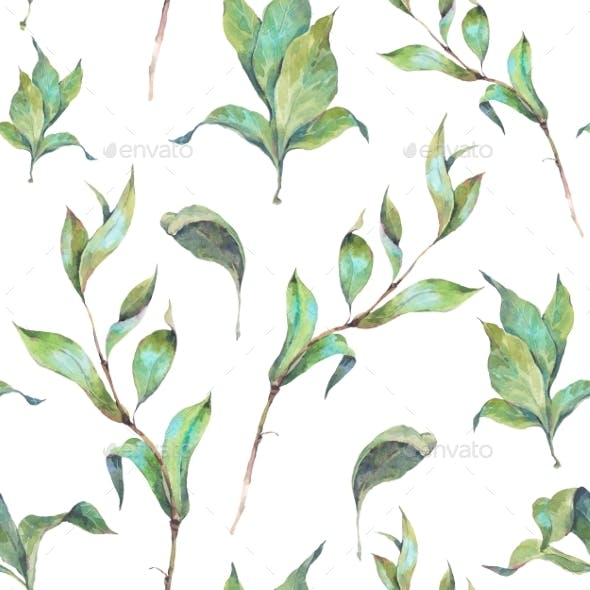 Watercolor Seamless Pattern With Leaves And Twigs