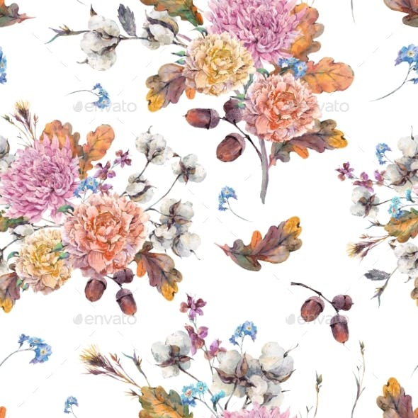 Vintage Watercolor Autumn Seamless Pattern