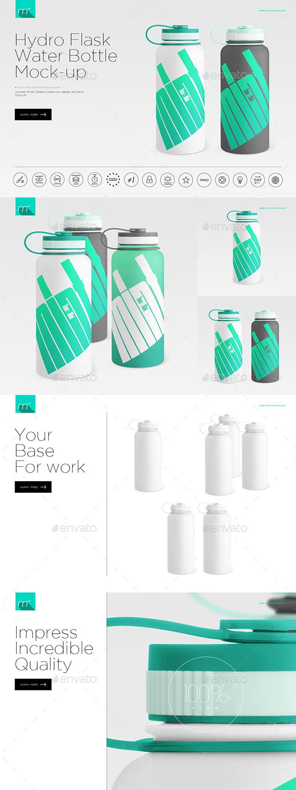 Hydro Flask Water Bottle Mock-up - Food and Drink Packaging