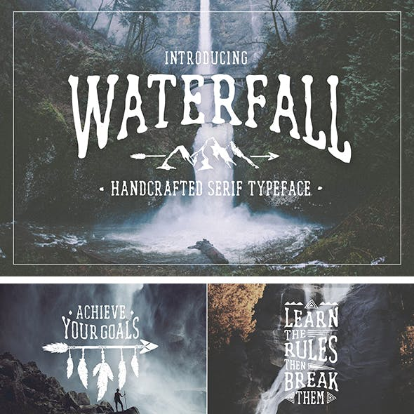 Waterfall. Handcrafted Font
