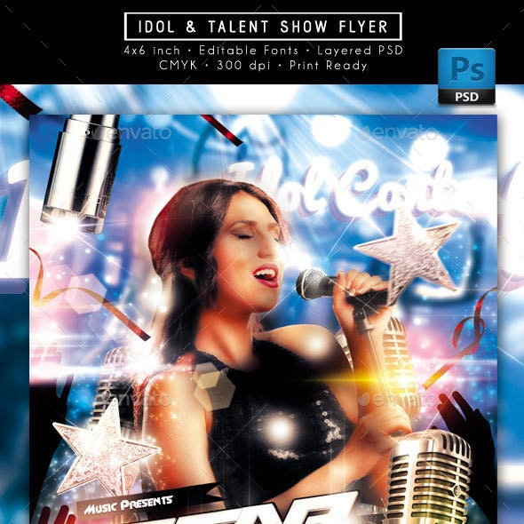 Idol Sing Talent Show Flyer.