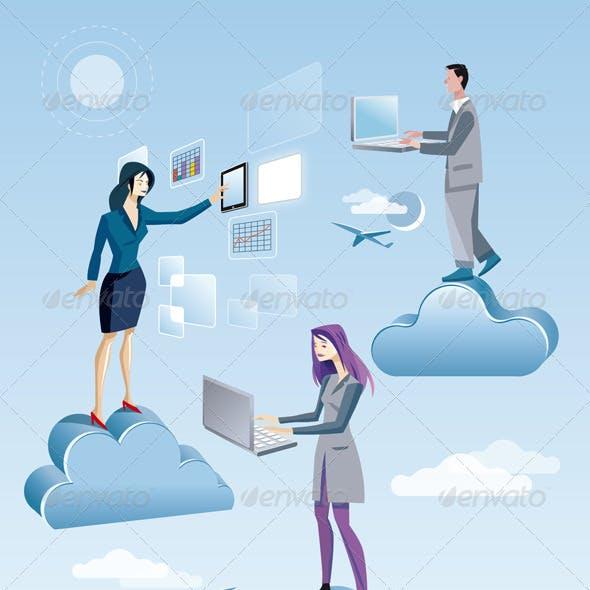 Cloud Computing Two Women And A Men