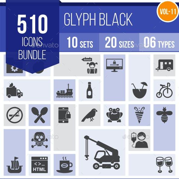 510 Vector Glyph Icons Bundle (Vol-11)