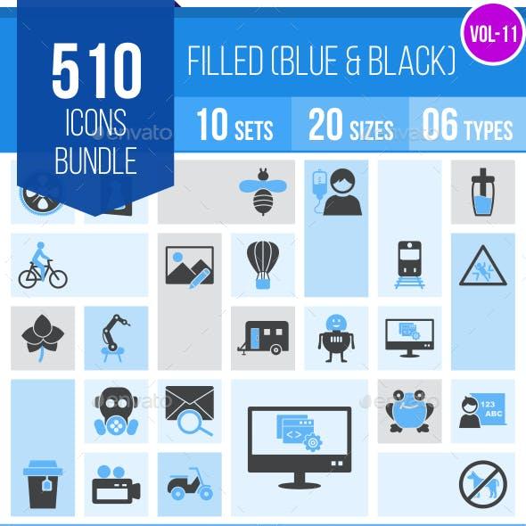 510 Vector Blue & Black Icons Bundle (Vol-11)
