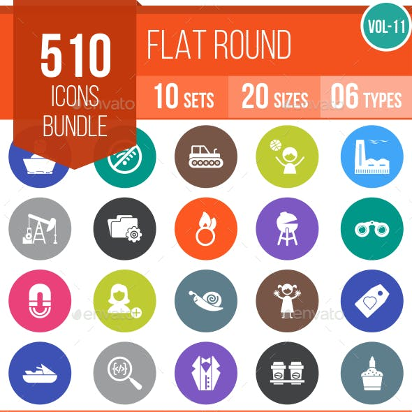 510 Vector Flat Round Icons Bundle (Vol-11)