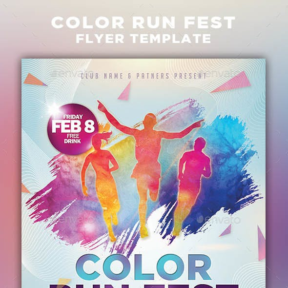 Color Run Festival Flyer Template