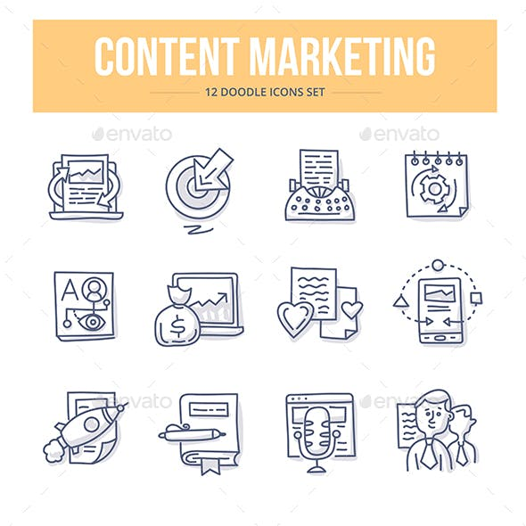Content Marketing Doodle Icons