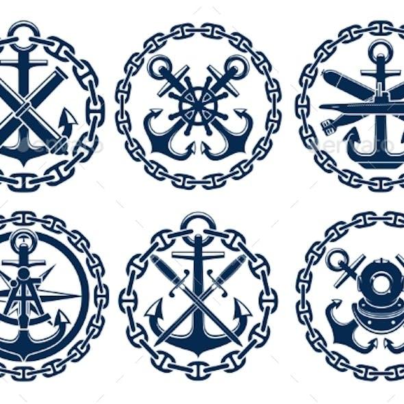Marine And Nautical Emblems, Icons