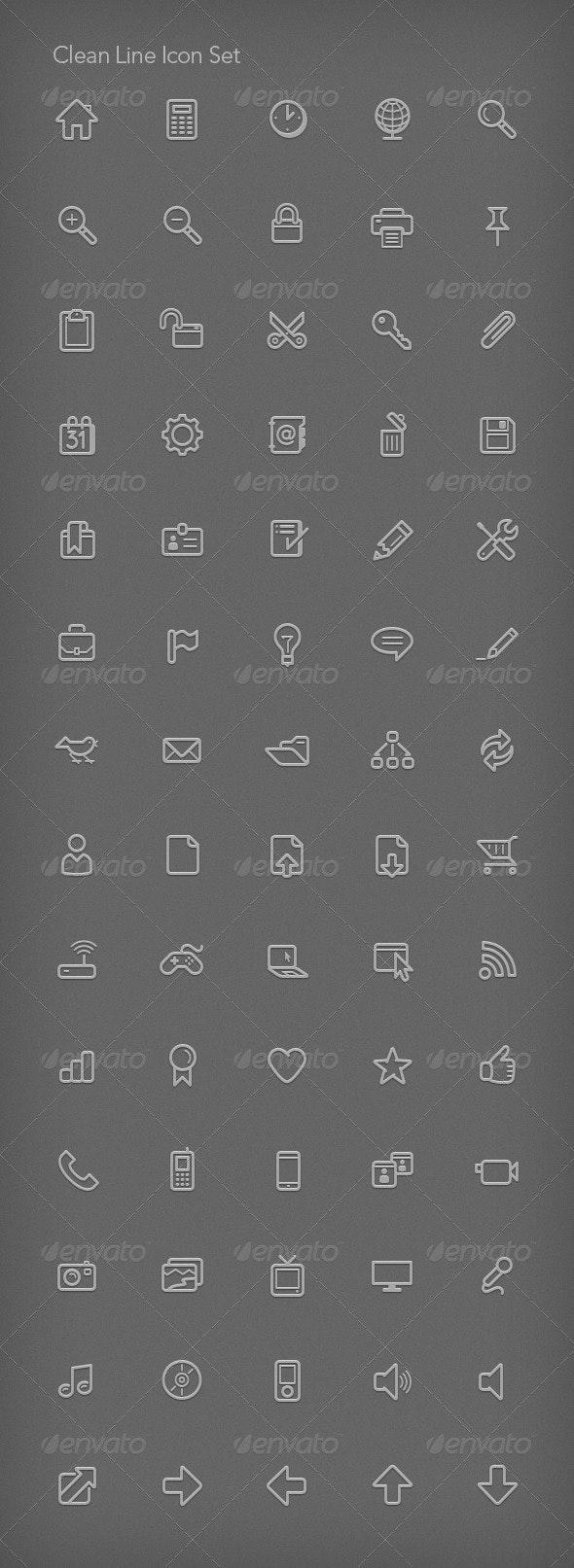 Clean Line Icon Set - Web Icons