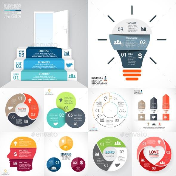 3 Steps Infographics. Vol.1