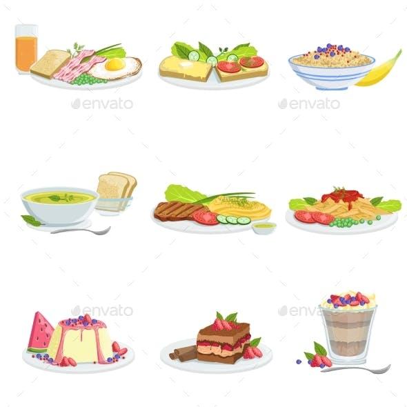 European Cuisine Dish Assortment Menu Items