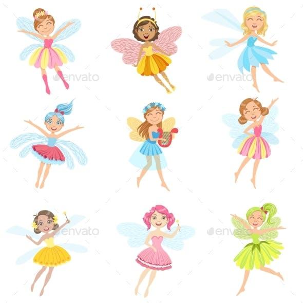 Fairies in Dresses Girly Cartoon