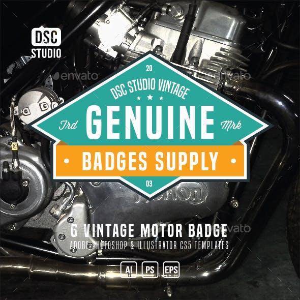 6 Vintage Motor Badge