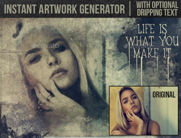 Instant Artwork Generator with Dripping Text - Artistic Photo Templates