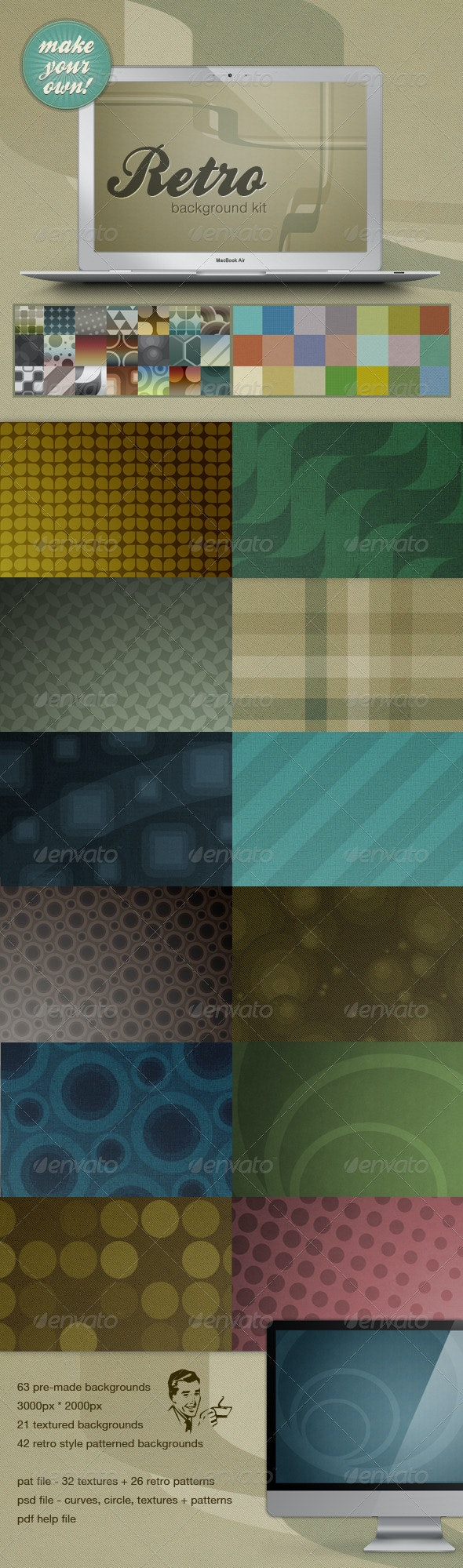 Retro Web Background Kit - Make Your Own! - Backgrounds Graphics