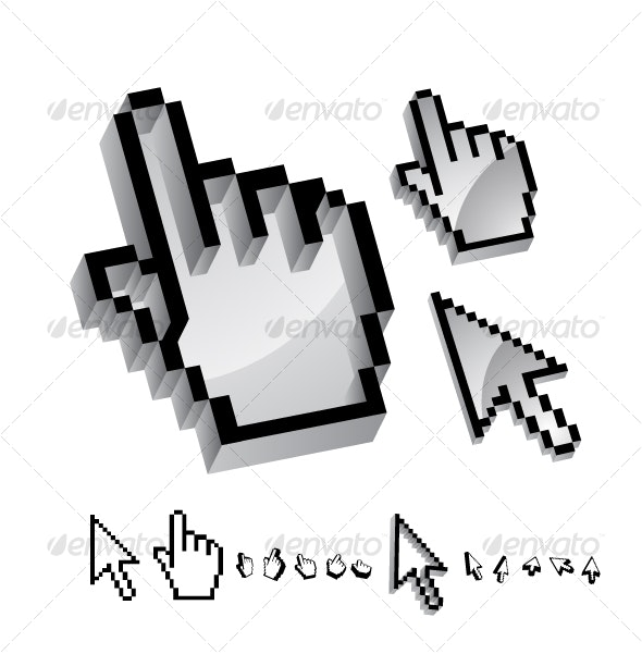Set of glossy 3d mouse pointers - Web Icons