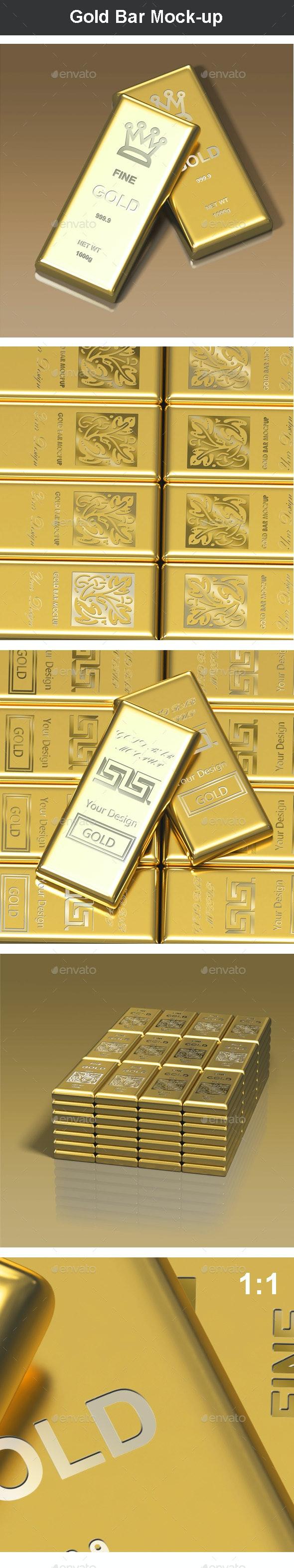 Gold Bar Mock-up - Miscellaneous Product Mock-Ups