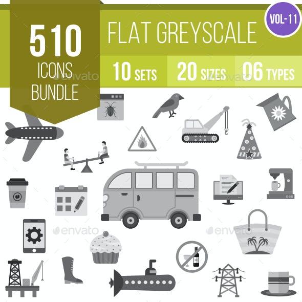 510 Vector Greyscale Icons Bundle (Vol-11)