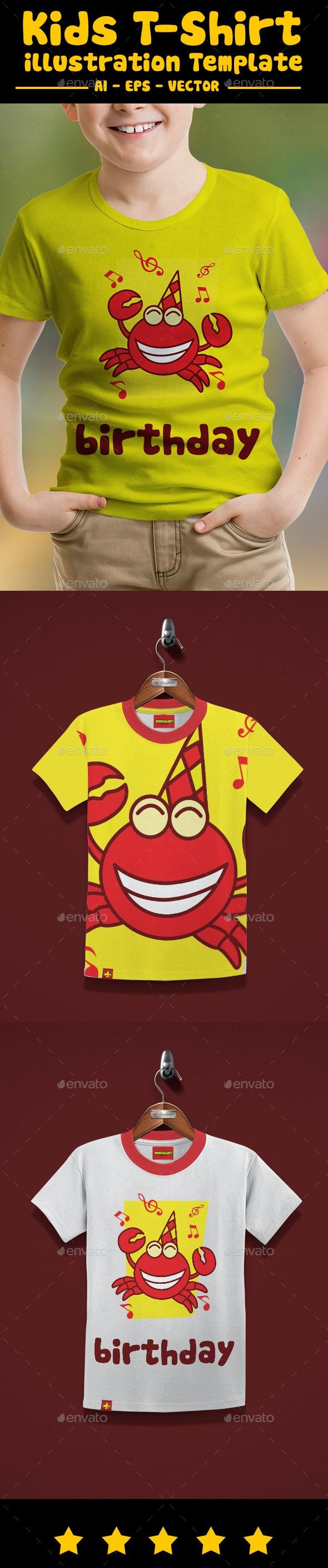 Birthday Crab Kids T-Shirt Design - T-Shirts