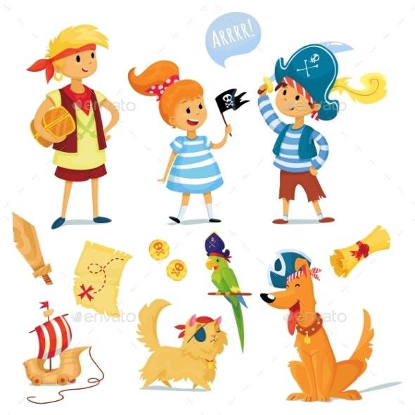 Kids And Animals Dressed Like Pirates.