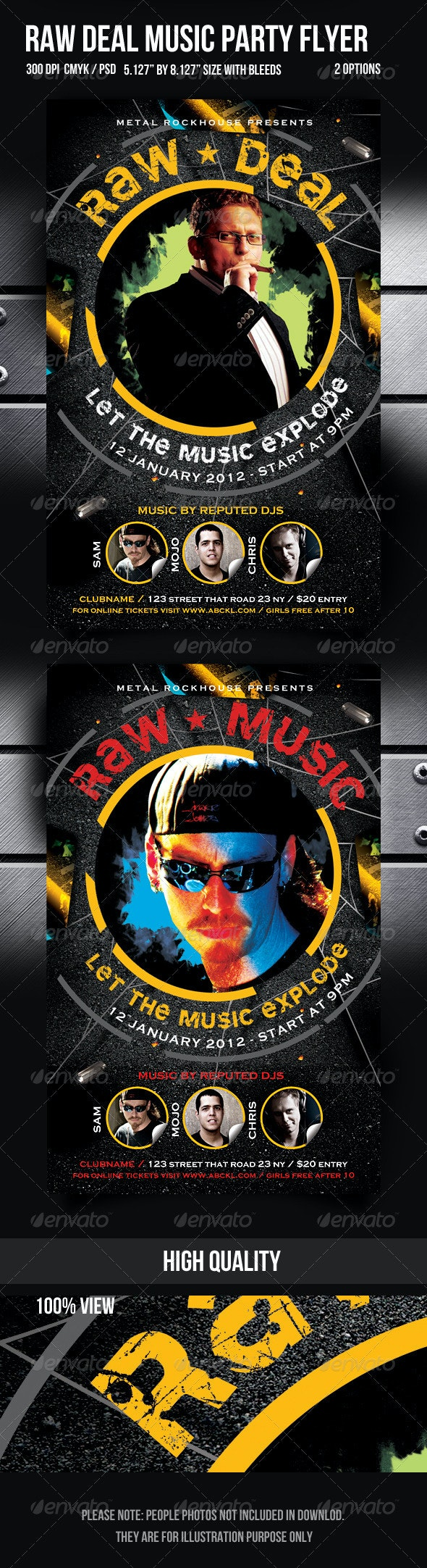 Raw Deal Music Party Flyer - Clubs & Parties Events