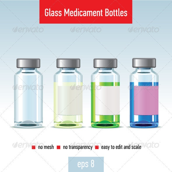 Glass Medicament Bottles - Health/Medicine Conceptual