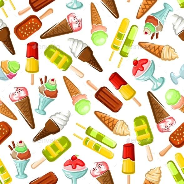 Ice Cream Seamless Pattern Background