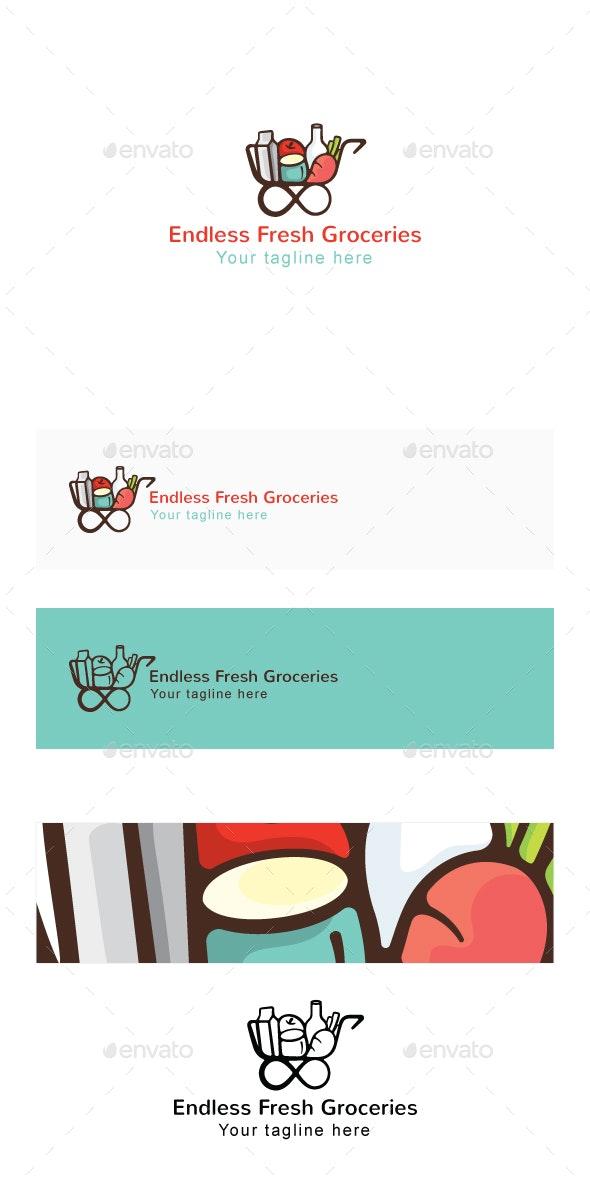 Endless Fresh Groceries - Shopping Cart Stock Logo Template - Symbols Logo Templates
