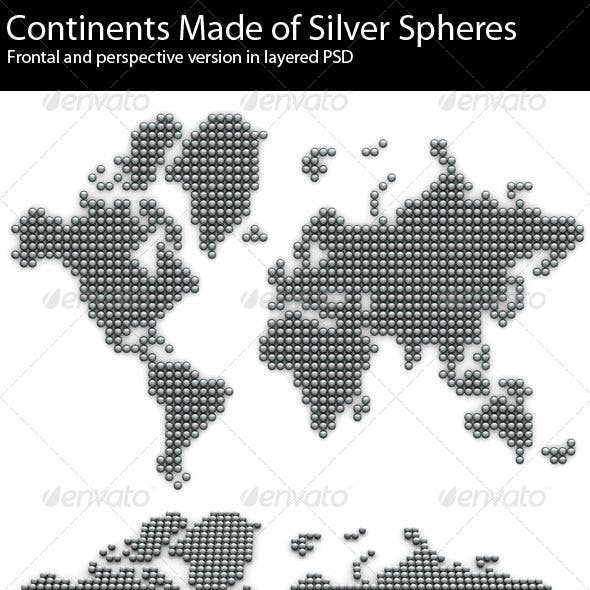 3D Continents Made of Silver Balls 6000x4800 res