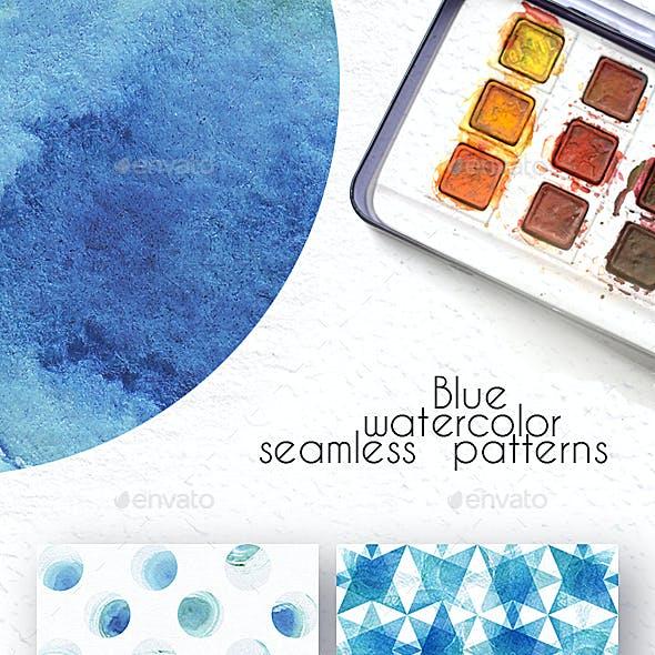 Blue Watercolor Patterns Set