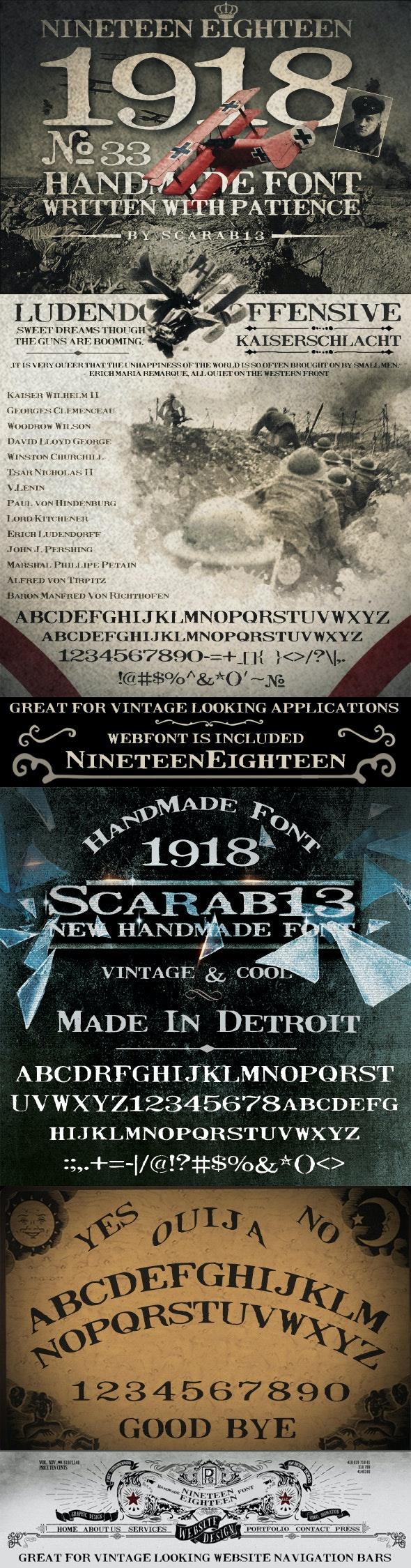 Handmade Font NineteenEighteen 1918 - Serif Fonts