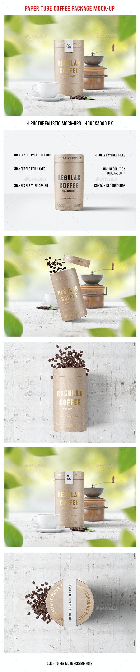 Paper Tube Coffee Package Mock-Up - Food and Drink Packaging
