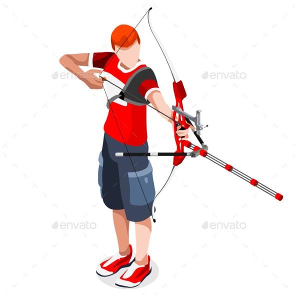 Archery Sports 3D Isometric Vector Illustration