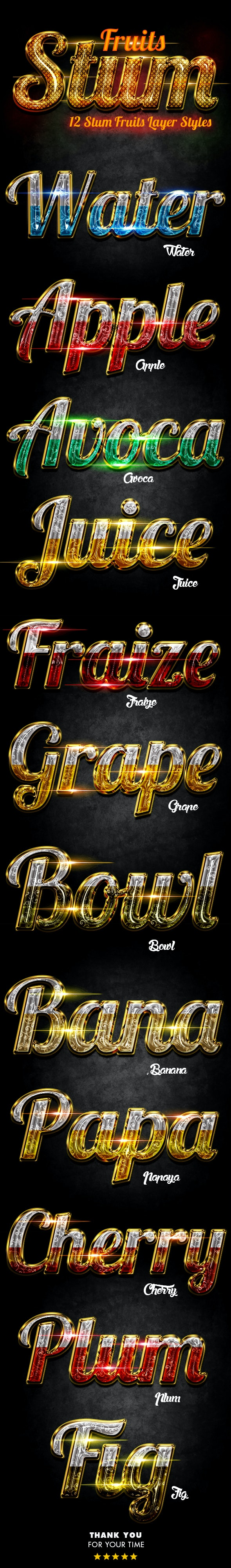 Stum Fruits Layer Styles - Text Effects Styles