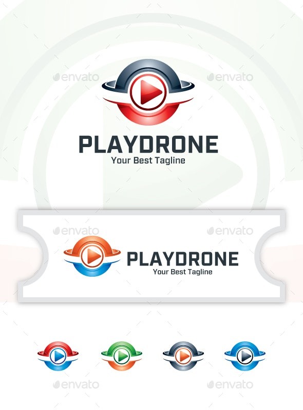 Drone Play Media - Logo Template - Vector Abstract