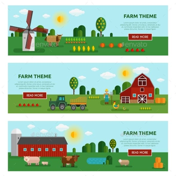 Flat Farm Vegetables Banner Set