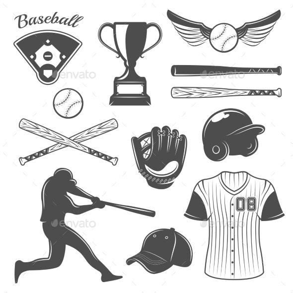 Baseball Monochrome Elements Set - Sports/Activity Conceptual