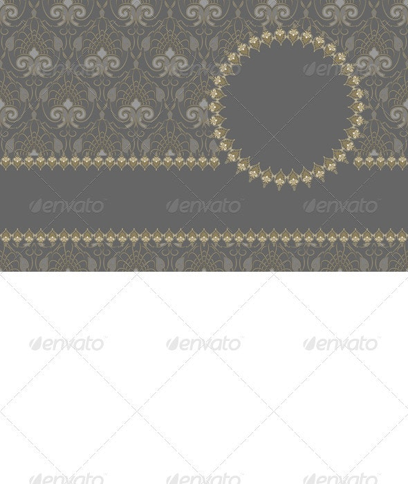 Vector Vintage Card Design, Gold Pattern - Patterns Decorative