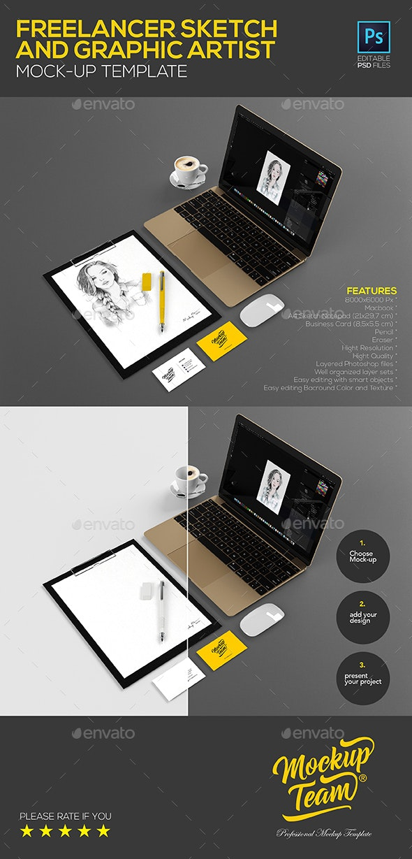 Freelancer Sketch and Graphic Artist Mock-up Template - Product Mock-Ups Graphics